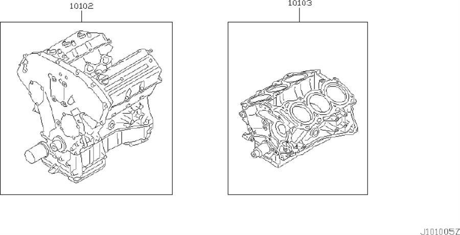 Infiniti I35 Engine Short Block  Bare