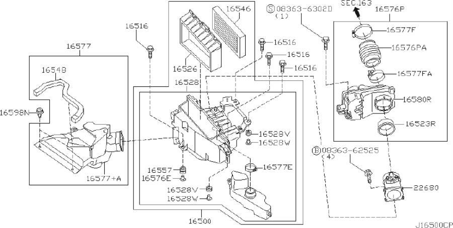 Infiniti I35 Engine Air Intake Hose  Cleaner