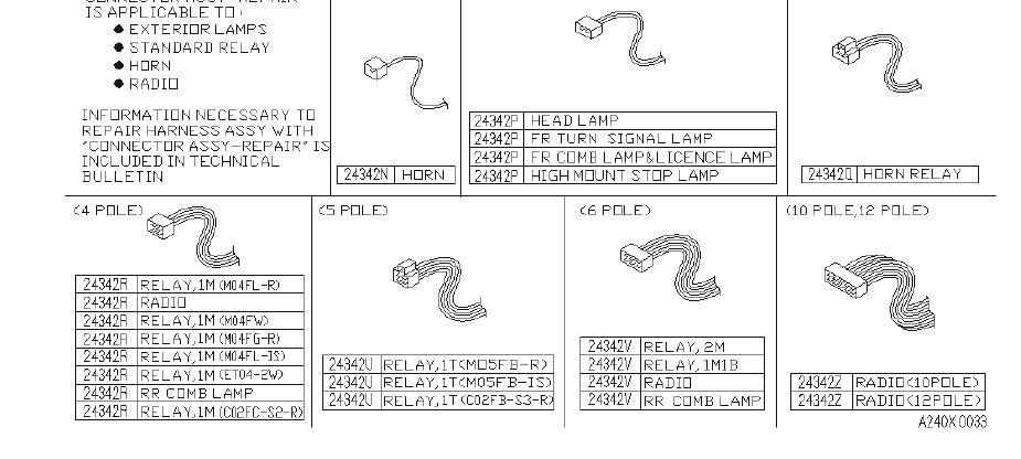 Infiniti M30 Connector Harness Repair  4p  Relay  Fed