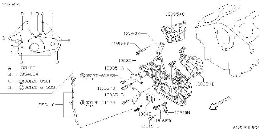 INFINITI Q45 Engine Timing Cover (Front). VACUUM, PUMP ...