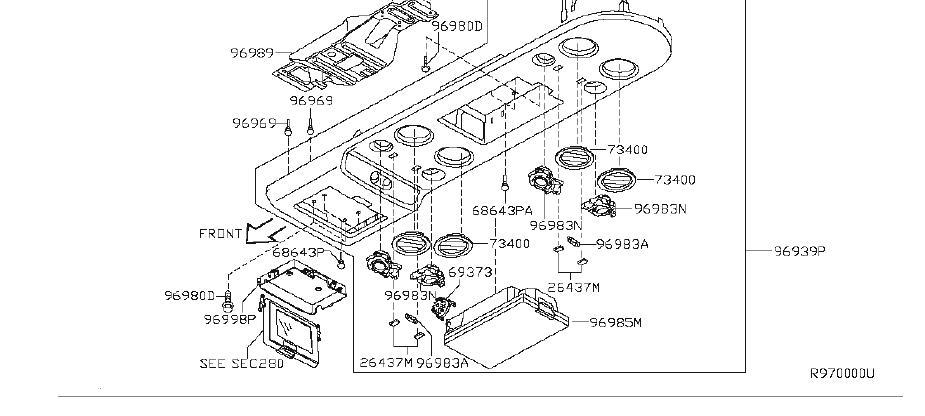 infiniti qx56 spot lamp roof console box  dvd  cgw