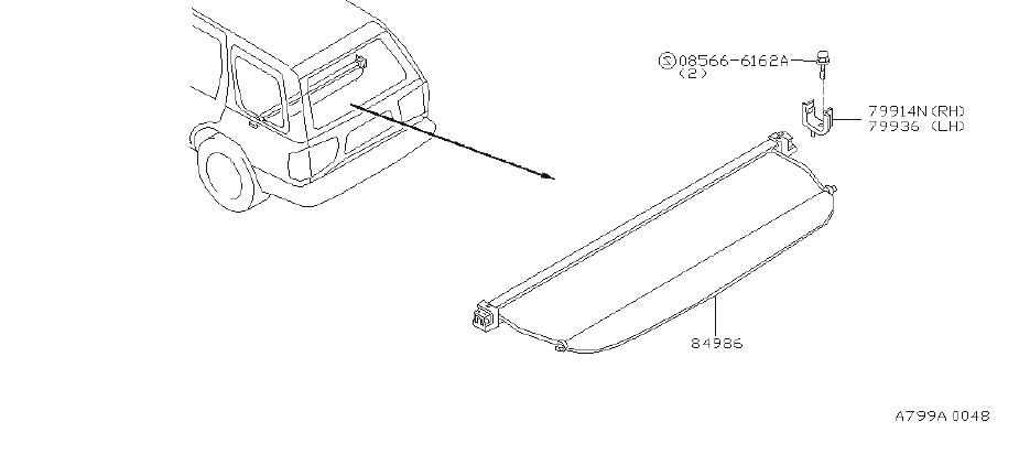 Infiniti Qx4 Cargo Cover Bracket  Left  Rear
